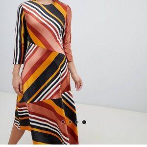 Warehouse Hanky Hem Striped Midi Dress